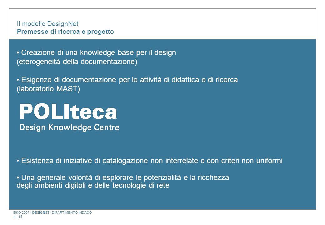 ISKO 2007 | DESIGNET | DIPARTIMENTO INDACO 4 | 18 Il modello DesignNet Premesse di ricerca e progetto Creazione di una knowledge base per il design (e
