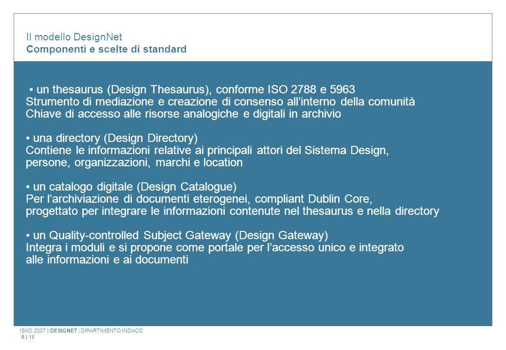 ISKO 2007 | DESIGNET | DIPARTIMENTO INDACO 5 | 18 Il modello DesignNet Componenti e scelte di standard un thesaurus (Design Thesaurus), conforme ISO 2
