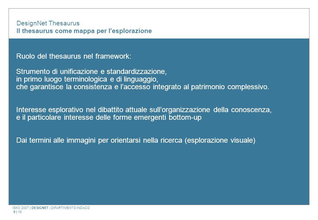 ISKO 2007 | DESIGNET | DIPARTIMENTO INDACO 9 | 18 Ruolo del thesaurus nel framework: Strumento di unificazione e standardizzazione, in primo luogo terminologica e di linguaggio, che garantisce la consistenza e laccesso integrato al patrimonio complessivo.