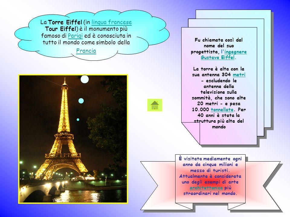 La Torre Eiffel (in lingua francese Tour Eiffel) è il monumento più famoso di Parigi ed è conosciuta in tutto il mondo come simbolo della Francialingu