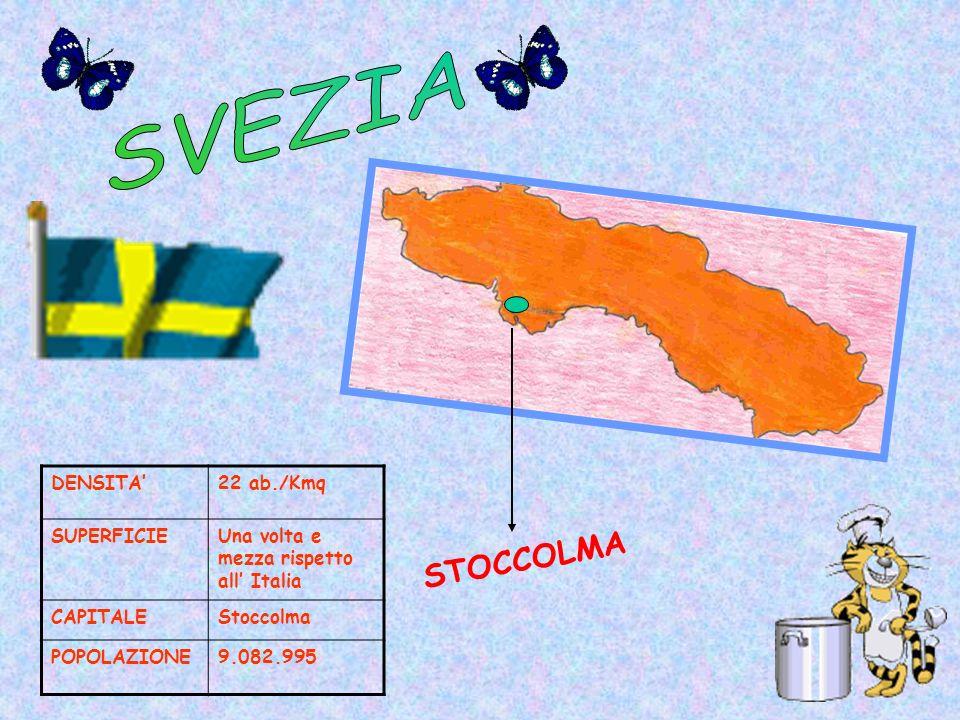 DENSITA22 ab./Kmq SUPERFICIEUna volta e mezza rispetto all Italia CAPITALEStoccolma POPOLAZIONE9.082.995 STOCCOLMA
