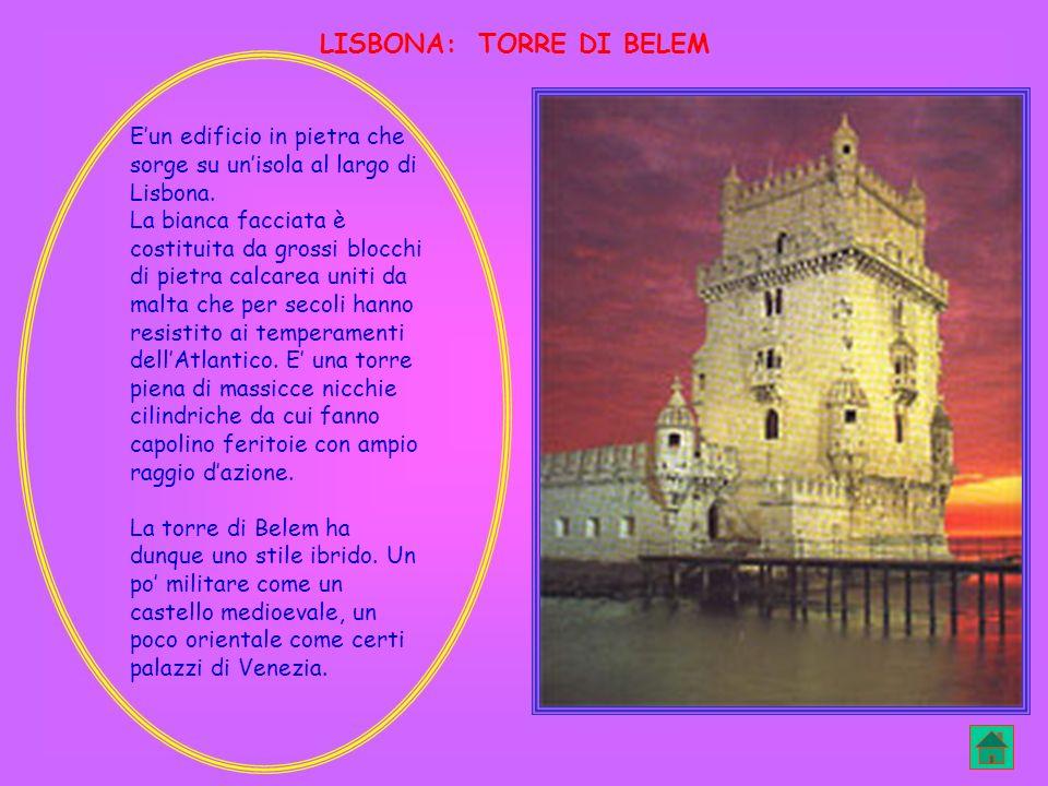 Eun edificio in pietra che sorge su unisola al largo di Lisbona. La bianca facciata è costituita da grossi blocchi di pietra calcarea uniti da malta c