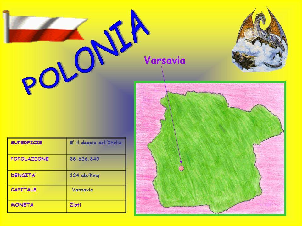 SUPERFICIEE il doppio dellItalia POPOLAZIONE38.626.349 DENSITA124 ab/Kmq CAPITALE Varsavia MONETAZloti Varsavia