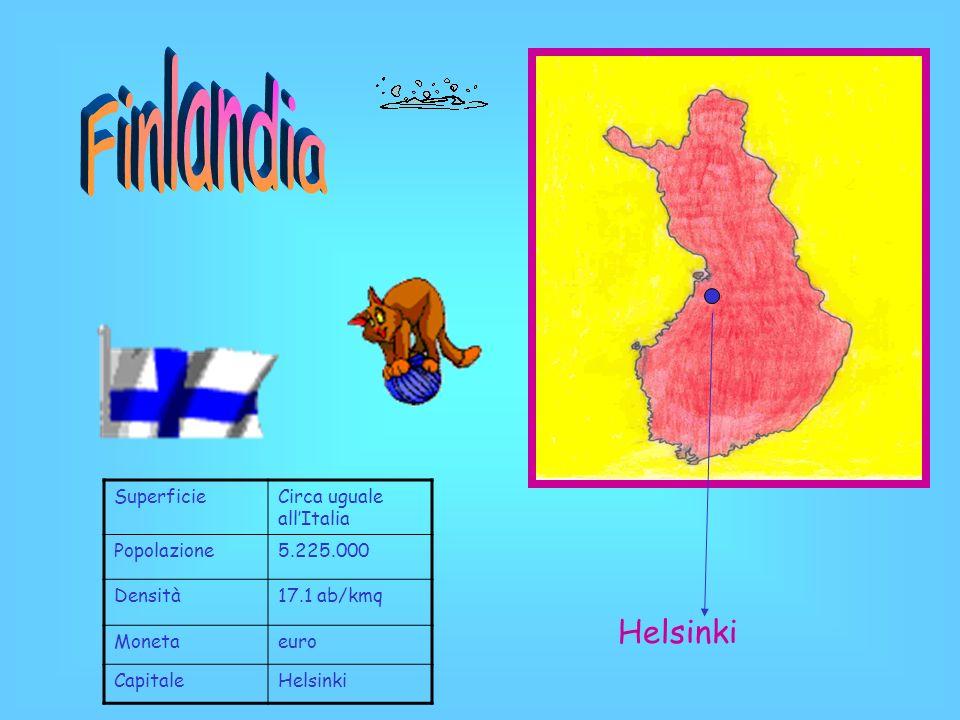 SuperficieCirca uguale allItalia Popolazione5.225.000 Densità17.1 ab/kmq Monetaeuro CapitaleHelsinki