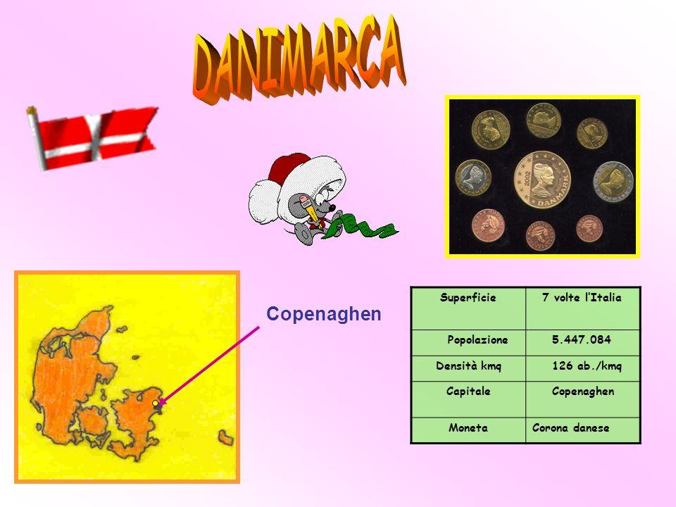 Superficie 7 volte lItalia Popolazione 5.447.084 Densità kmq 126 ab./kmq Capitale Copenaghen MonetaCorona danese Copenaghen