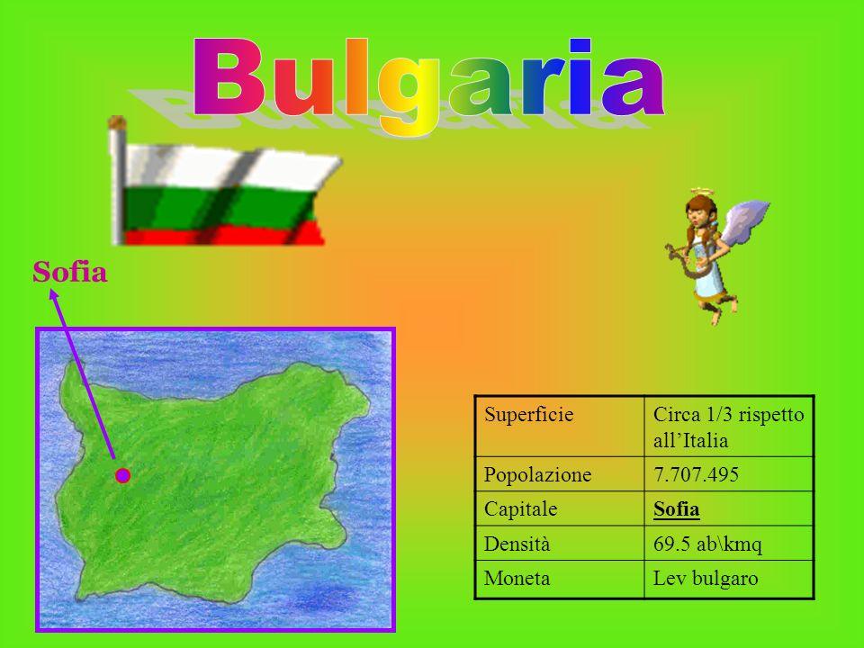 SuperficieCirca 1/3 rispetto allItalia Popolazione7.707.495 CapitaleSofia Densità69.5 ab\kmq MonetaLev bulgaro Sofia