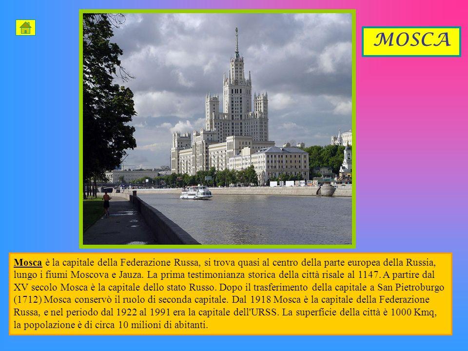 Mosca è la capitale della Federazione Russa, si trova quasi al centro della parte europea della Russia, lungo i fiumi Moscova e Jauza.