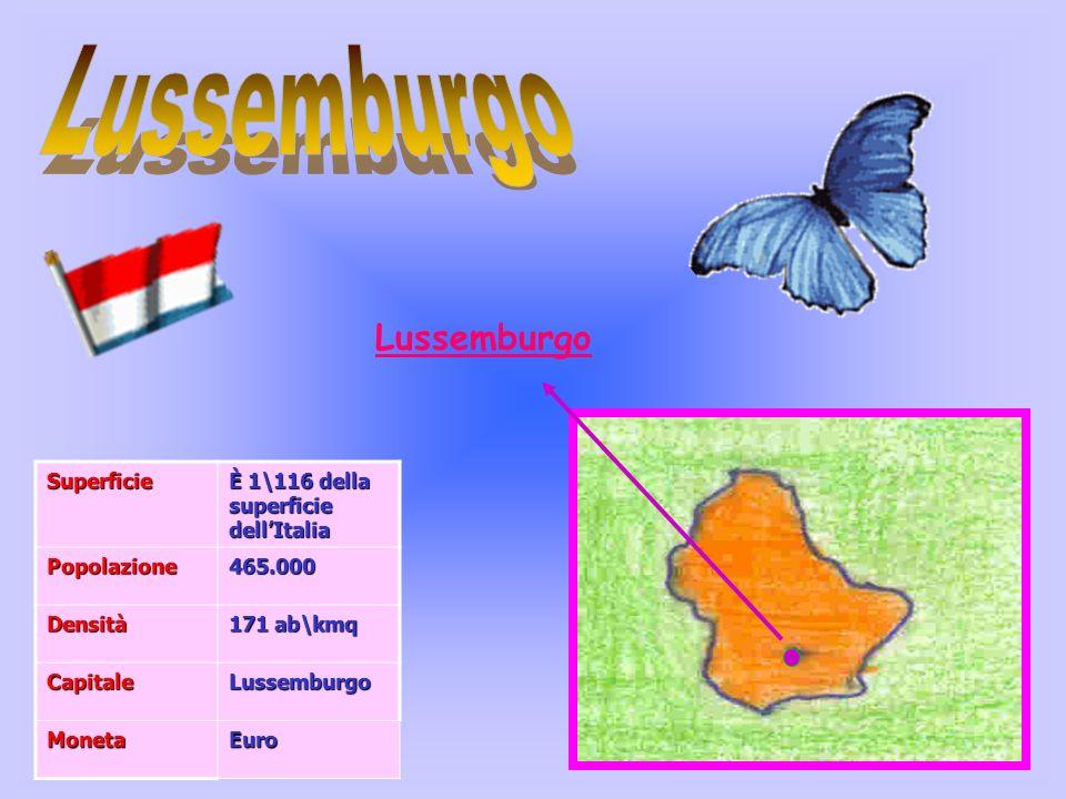 LussemburgoSuperficie È 1\116 della superficie dellItalia Popolazione465.000 Densità 171 ab\kmq CapitaleLussemburgo MonetaEuro