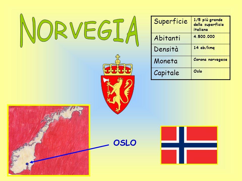Superficie 1/5 più grande della superficie italiana Abitanti 4.500.000 Densità 14 ab/kmq Moneta Corona norvegese Capitale Oslo OSLO