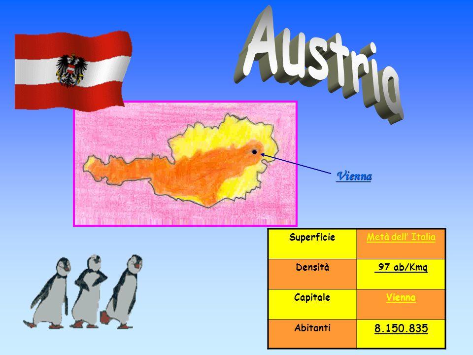SuperficieMetà dell Italia Densità 97 ab/Kmq CapitaleVienna Abitanti 8.150.835 Vienna
