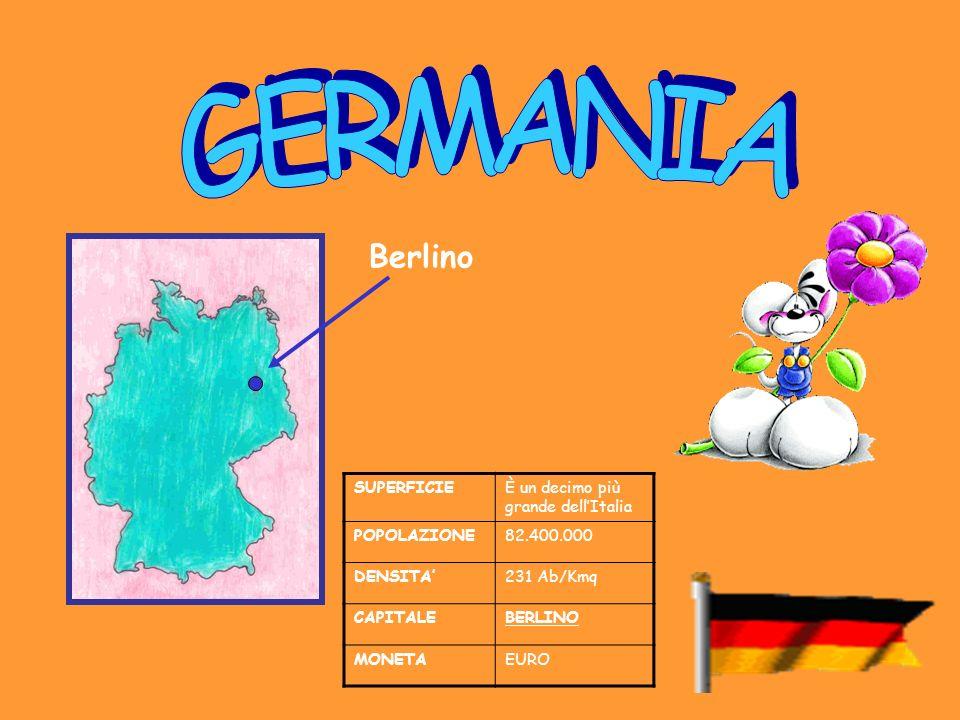 SUPERFICIEÈ un decimo più grande dellItalia POPOLAZIONE82.400.000 DENSITA231 Ab/Kmq CAPITALEBERLINO MONETAEURO Berlino