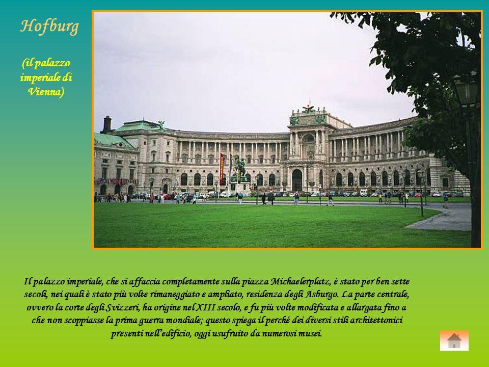 Il palazzo imperiale, che si affaccia completamente sulla piazza Michaelerplatz, è stato per ben sette secoli, nei quali è stato più volte rimaneggiato e ampliato, residenza degli Asburgo.