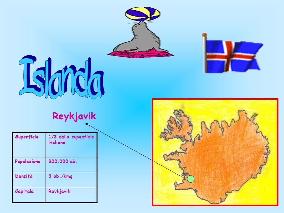 Superficie1/3 della superficie italiana Popolazione300.000 ab. Densità3 ab./kmq CapitaleReykjavik