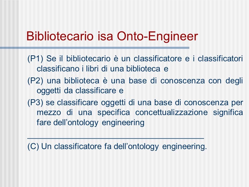 Bibliotecario isa Onto-Engineer (P1) Se il bibliotecario è un classificatore e i classificatori classificano i libri di una biblioteca e (P2) una biblioteca è una base di conoscenza con degli oggetti da classificare e (P3) se classificare oggetti di una base di conoscenza per mezzo di una specifica concettualizzazione significa fare dellontology engineering ______________________________________ (C) Un classificatore fa dellontology engineering.