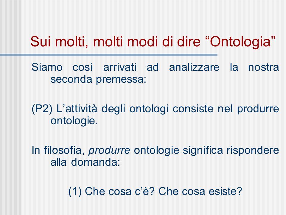 Sui molti, molti modi di dire Ontologia Siamo così arrivati ad analizzare la nostra seconda premessa: (P2) Lattività degli ontologi consiste nel produrre ontologie.