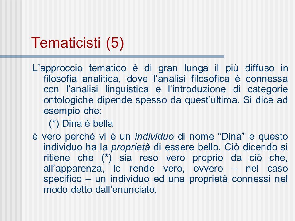 Tematicisti (5) Lapproccio tematico è di gran lunga il più diffuso in filosofia analitica, dove lanalisi filosofica è connessa con lanalisi linguistica e lintroduzione di categorie ontologiche dipende spesso da questultima.
