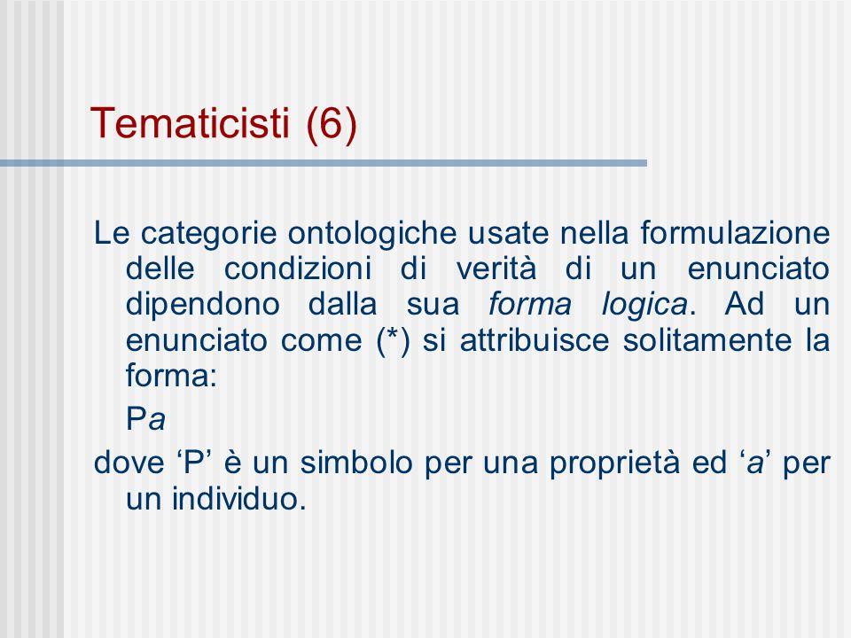 Tematicisti (6) Le categorie ontologiche usate nella formulazione delle condizioni di verità di un enunciato dipendono dalla sua forma logica.
