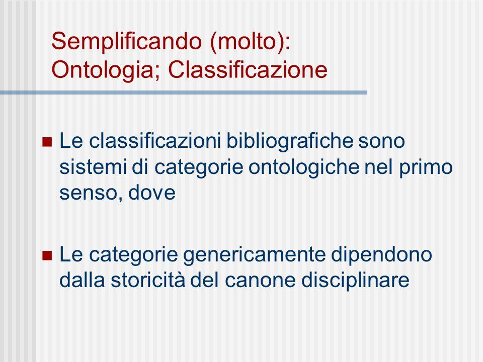 Semplificando (molto): Ontologia; Classificazione Le classificazioni bibliografiche sono sistemi di categorie ontologiche nel primo senso, dove Le categorie genericamente dipendono dalla storicità del canone disciplinare