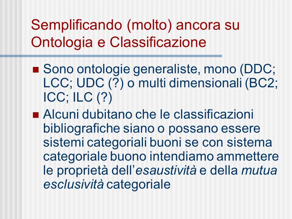 Semplificando (molto) ancora su Ontologia e Classificazione Sono ontologie generaliste, mono (DDC; LCC; UDC ( ) o multi dimensionali (BC2; ICC; ILC ( ) Alcuni dubitano che le classificazioni bibliografiche siano o possano essere sistemi categoriali buoni se con sistema categoriale buono intendiamo ammettere le proprietà dellesaustività e della mutua esclusività categoriale