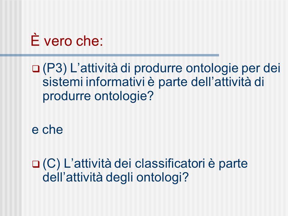 È vero che: (P3) Lattività di produrre ontologie per dei sistemi informativi è parte dellattività di produrre ontologie.