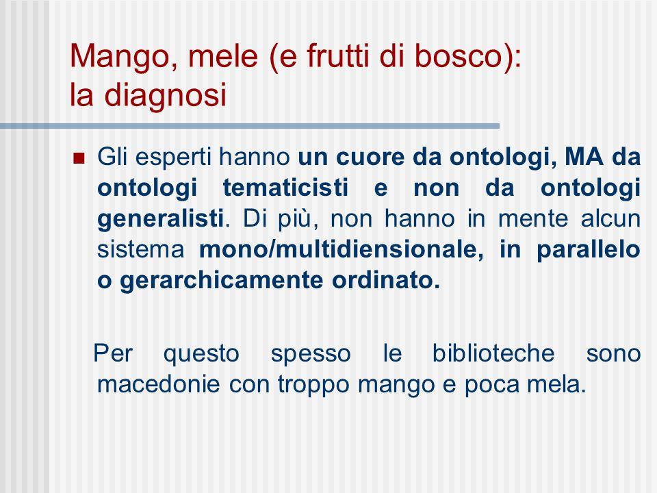 Mango, mele (e frutti di bosco): la diagnosi Gli esperti hanno un cuore da ontologi, MA da ontologi tematicisti e non da ontologi generalisti.