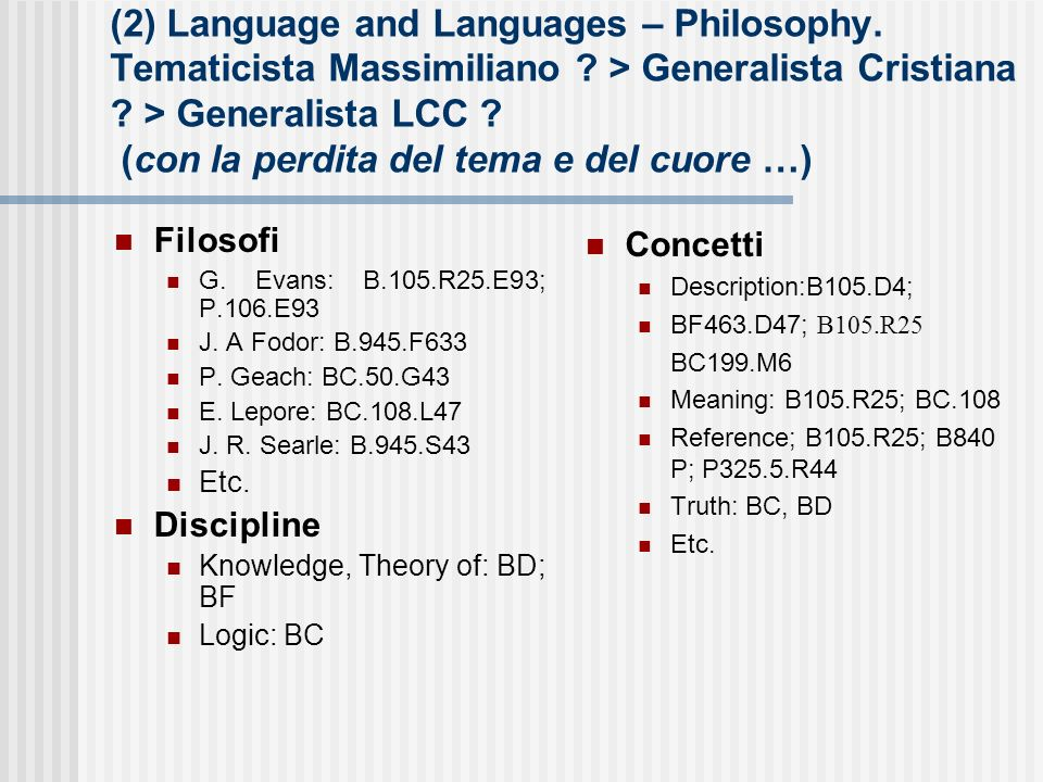 (2) Language and Languages – Philosophy. Tematicista Massimiliano .