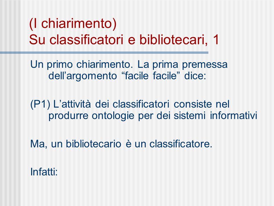 (I chiarimento) Su bibliotecari e classificatori, 2 (P1) Se il classificatore classifica e (P2) classificare è ripartire, ordinare per classi e un (P3) Un bibliotecario ripartisce, ordina per classi libri e riviste __________________________________ (C) Un bibliotecario è un classificatore.