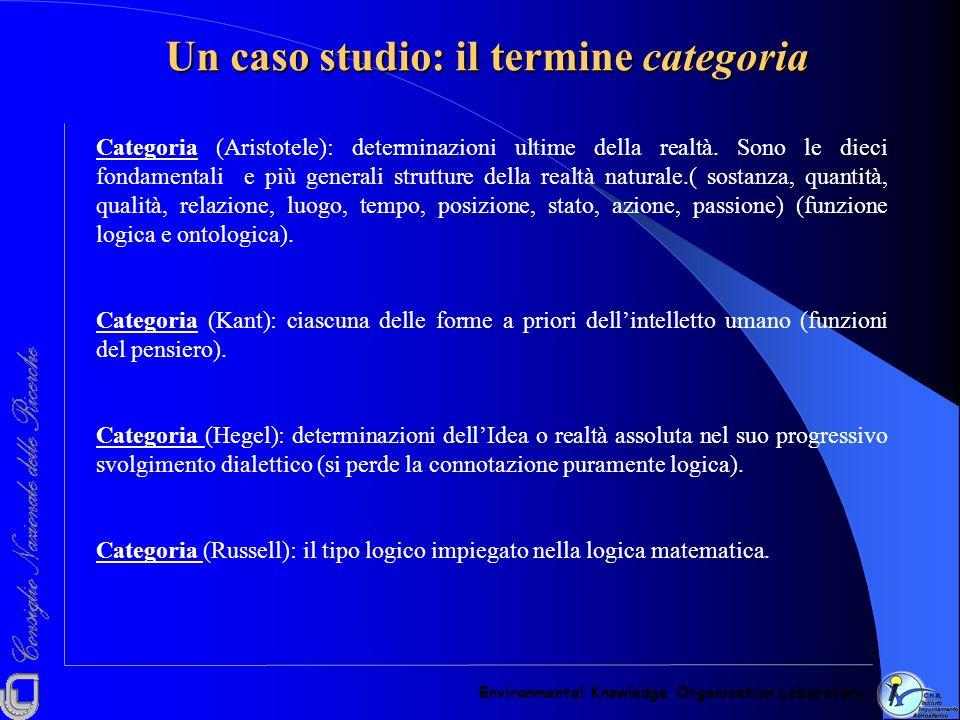 Un caso studio: il termine categoria Environmental Knowledge Organisation Laboratory Categoria (Aristotele): determinazioni ultime della realtà. Sono