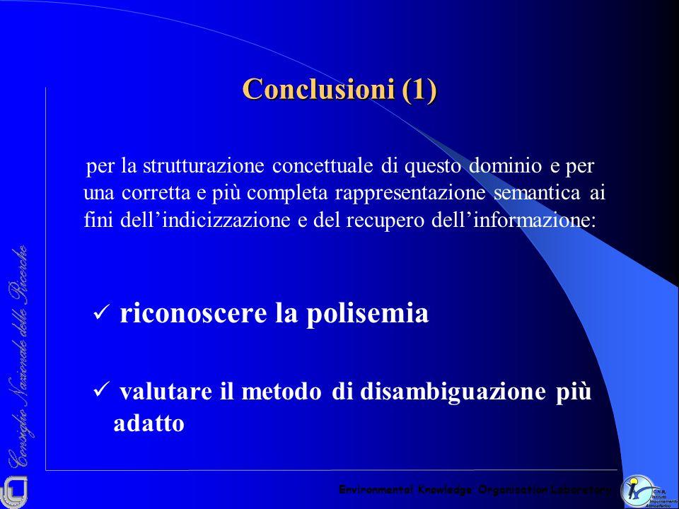 Conclusioni (1) per la strutturazione concettuale di questo dominio e per una corretta e più completa rappresentazione semantica ai fini dellindicizza