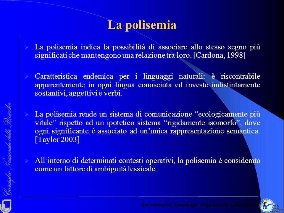La polisemia La polisemia indica la possibilità di associare allo stesso segno più significati che mantengono una relazione tra loro. [Cardona, 1998]