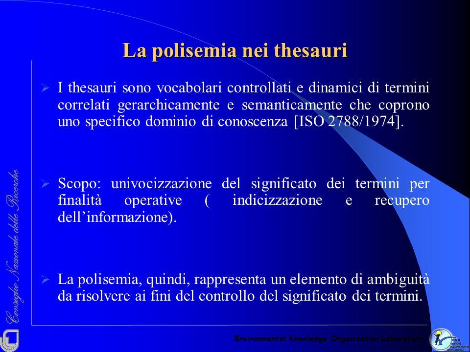 La polisemia nei thesauri I thesauri sono vocabolari controllati e dinamici di termini correlati gerarchicamente e semanticamente che coprono uno spec
