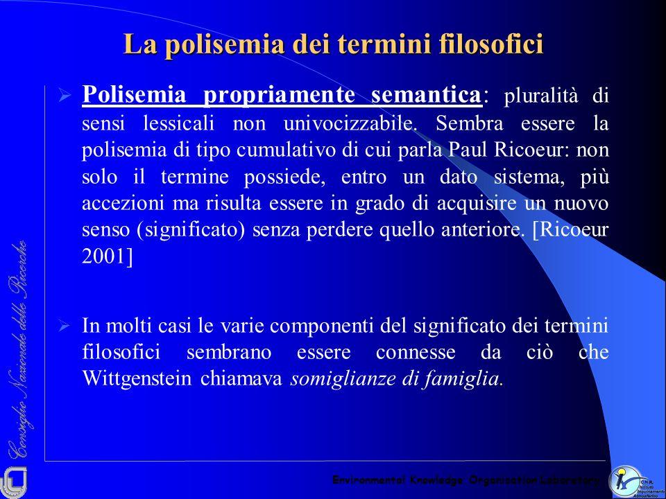 La polisemia dei termini filosofici Polisemia propriamente semantica: pluralità di sensi lessicali non univocizzabile. Sembra essere la polisemia di t