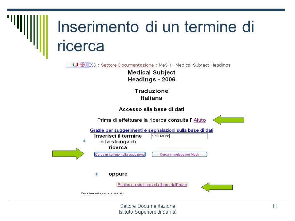 Settore Documentazione Istituto Superiore di Sanità 11 Inserimento di un termine di ricerca