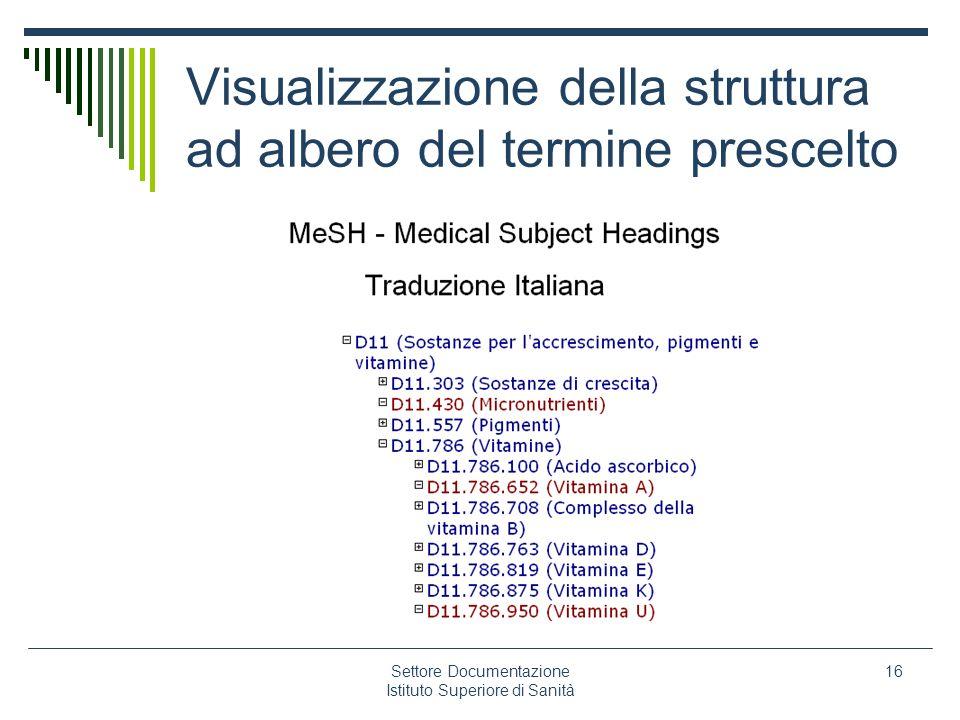 Settore Documentazione Istituto Superiore di Sanità 16 Visualizzazione della struttura ad albero del termine prescelto
