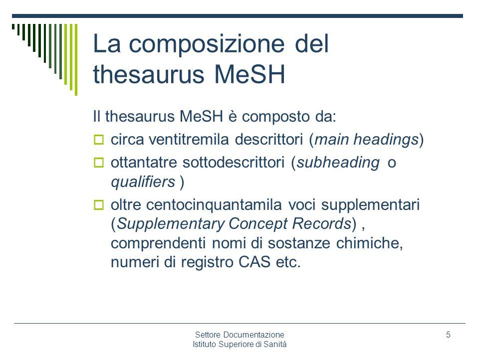 Settore Documentazione Istituto Superiore di Sanità 5 La composizione del thesaurus MeSH Il thesaurus MeSH è composto da: circa ventitremila descritto