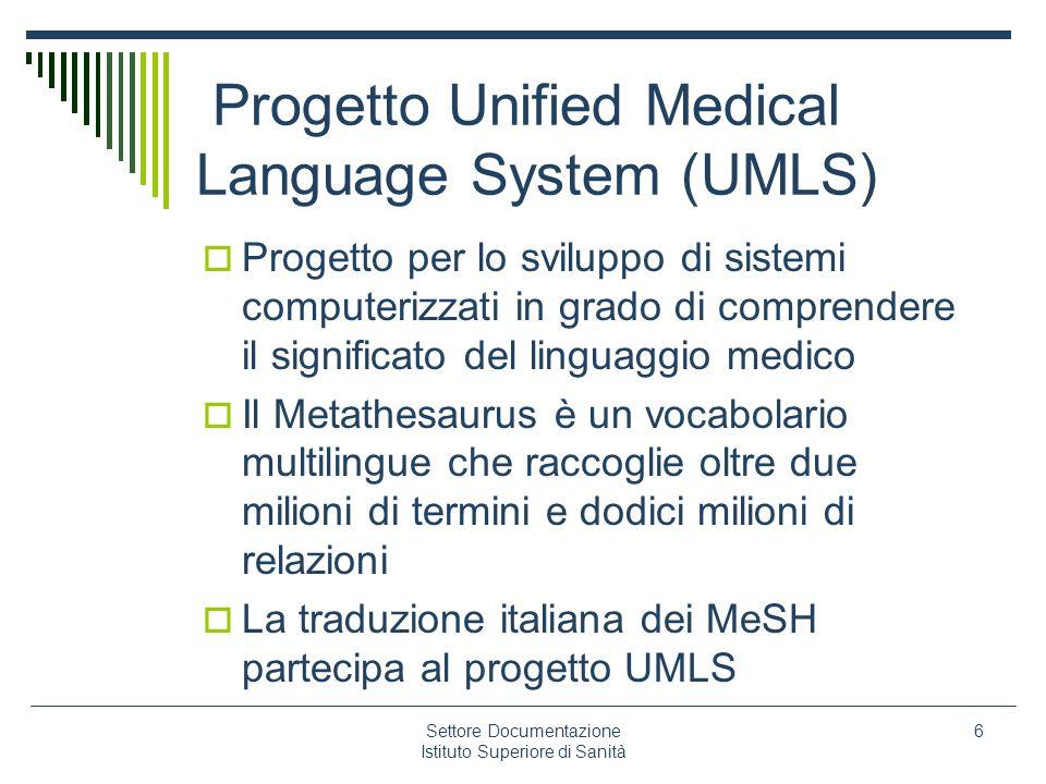 Settore Documentazione Istituto Superiore di Sanità 6 Progetto Unified Medical Language System (UMLS) Progetto per lo sviluppo di sistemi computerizza
