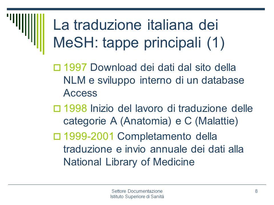 Settore Documentazione Istituto Superiore di Sanità 8 La traduzione italiana dei MeSH: tappe principali (1) 1997 Download dei dati dal sito della NLM