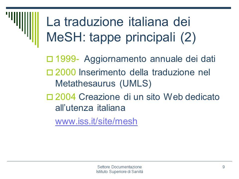 Settore Documentazione Istituto Superiore di Sanità 9 La traduzione italiana dei MeSH: tappe principali (2) 1999- Aggiornamento annuale dei dati 2000
