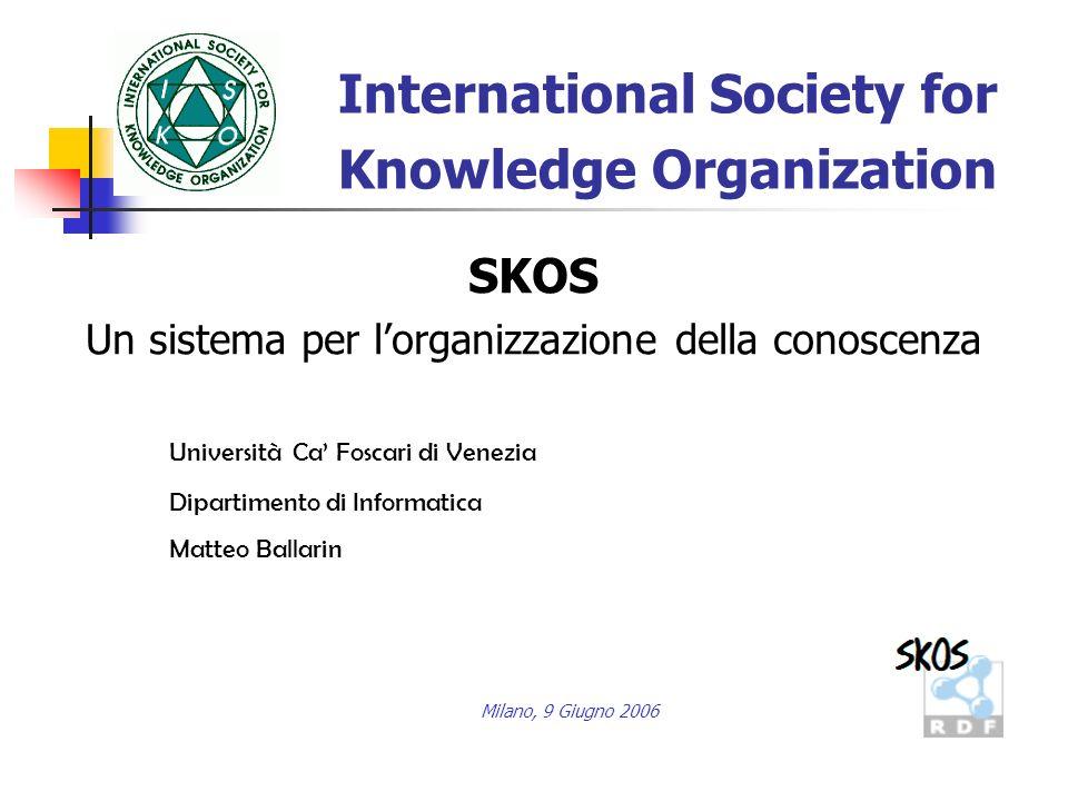 Verso uninformazione strutturata Con il termine knowledge organisation system si indicano tutti i tipi di approcci semantici allinformazione e alla loro applicazione nella documentazione, nella ricerca e nella società in genere.