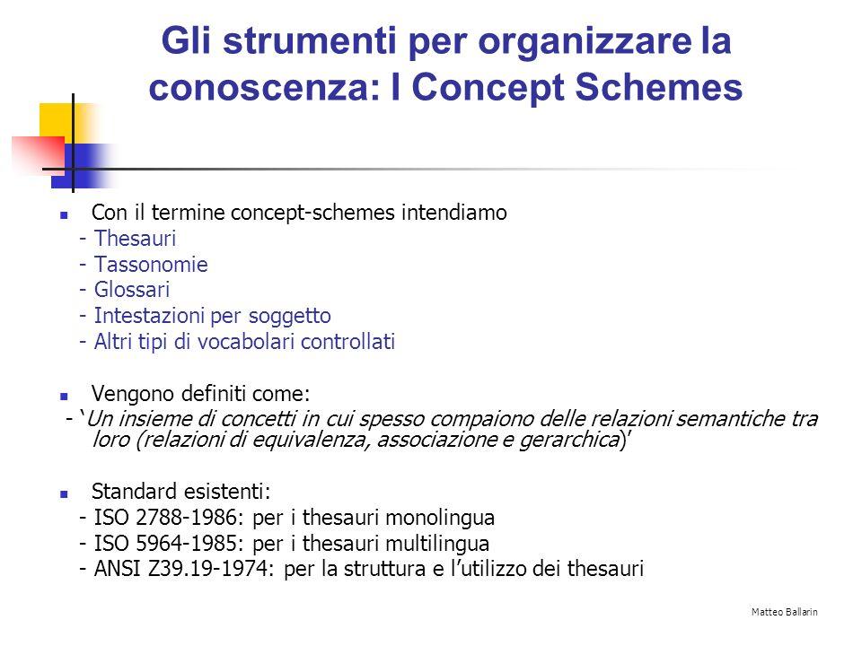 Gli strumenti per organizzare la conoscenza: I Concept Schemes Con il termine concept-schemes intendiamo - Thesauri - Tassonomie - Glossari - Intestazioni per soggetto - Altri tipi di vocabolari controllati Vengono definiti come: - Un insieme di concetti in cui spesso compaiono delle relazioni semantiche tra loro (relazioni di equivalenza, associazione e gerarchica) Standard esistenti: - ISO 2788-1986: per i thesauri monolingua - ISO 5964-1985: per i thesauri multilingua - ANSI Z39.19-1974: per la struttura e lutilizzo dei thesauri Matteo Ballarin