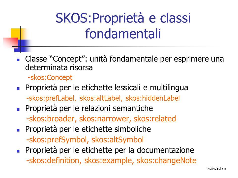 SKOS:Proprietà e classi fondamentali Classe Concept: unità fondamentale per esprimere una determinata risorsa -skos:Concept Proprietà per le etichette lessicali e multilingua -skos:prefLabel, skos:altLabel, skos:hiddenLabel Proprietà per le relazioni semantiche -skos:broader, skos:narrower, skos:related Proprietà per le etichette simboliche -skos:prefSymbol, skos:altSymbol Proprietà per le etichette per la documentazione -skos:definition, skos:example, skos:changeNote Matteo Ballarin