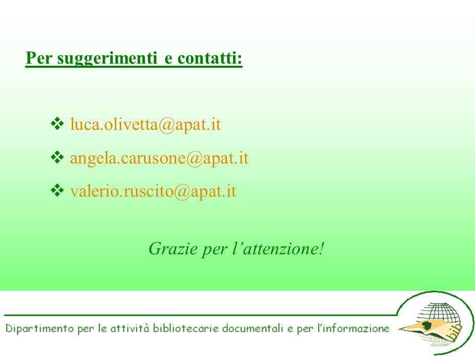 Per suggerimenti e contatti: luca.olivetta@apat.it angela.carusone@apat.it valerio.ruscito@apat.it Grazie per lattenzione!