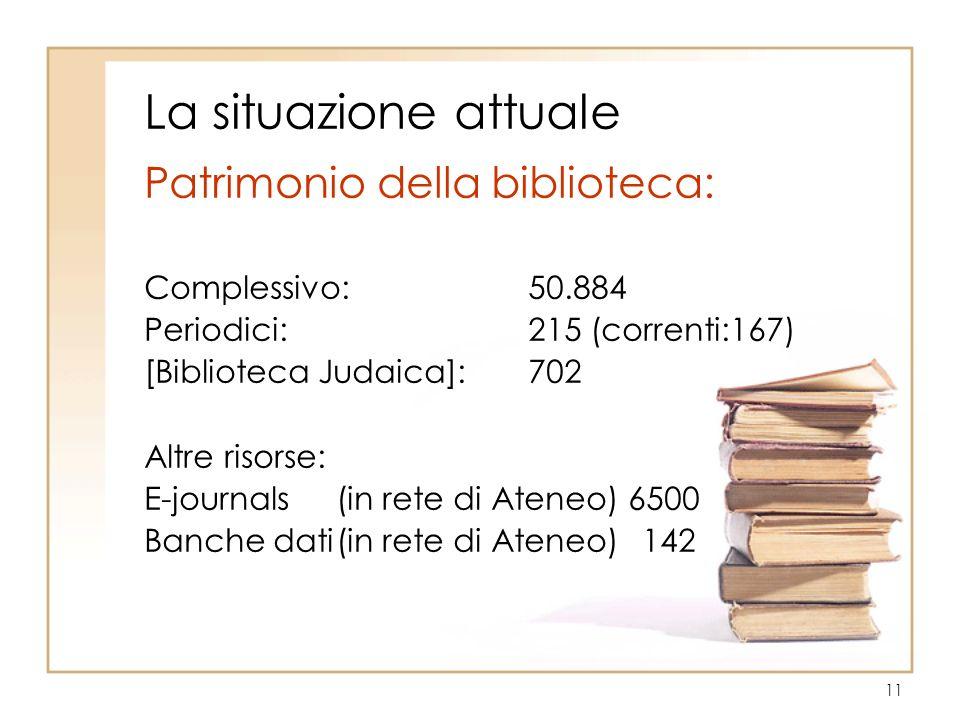 11 La situazione attuale Patrimonio della biblioteca: Complessivo:50.884 Periodici:215 (correnti:167) [Biblioteca Judaica]:702 Altre risorse: E-journa