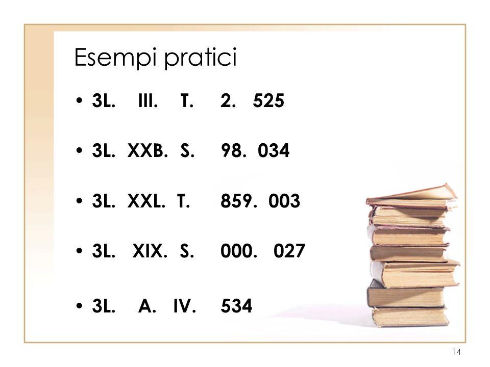 14 Esempi pratici 3L. III. T. 2. 525 3L. XXB. S. 98. 034 3L. XXL. T. 859. 003 3L. XIX. S. 000. 027 3L. A. IV. 534