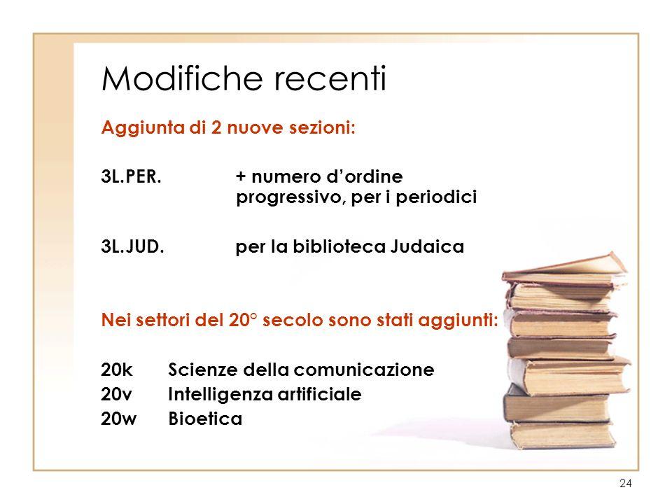 24 Modifiche recenti Aggiunta di 2 nuove sezioni: 3L.PER. + numero dordine progressivo, per i periodici 3L.JUD. per la biblioteca Judaica Nei settori