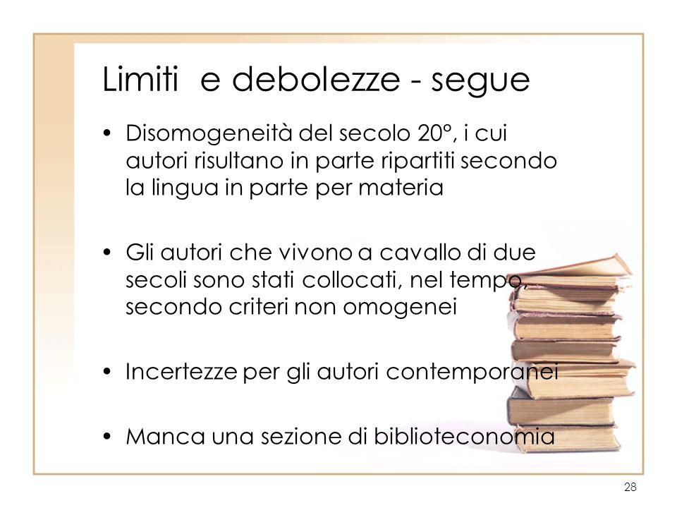 28 Limiti e debolezze - segue Disomogeneità del secolo 20°, i cui autori risultano in parte ripartiti secondo la lingua in parte per materia Gli autor