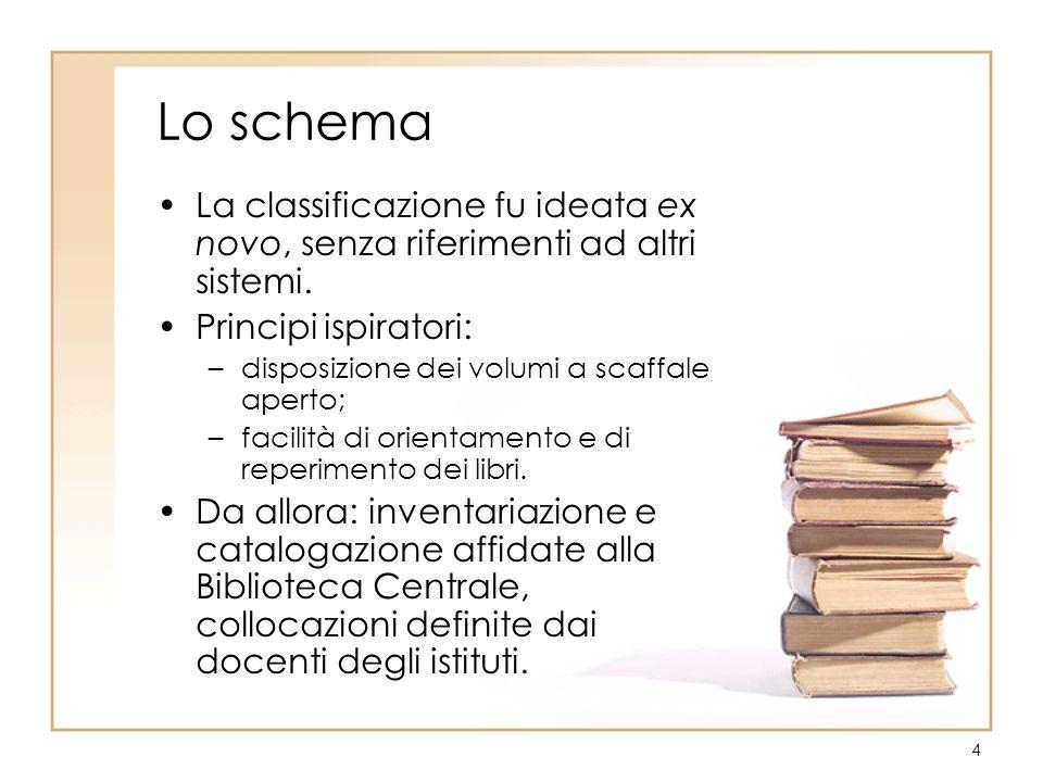 4 Lo schema La classificazione fu ideata ex novo, senza riferimenti ad altri sistemi. Principi ispiratori: –disposizione dei volumi a scaffale aperto;