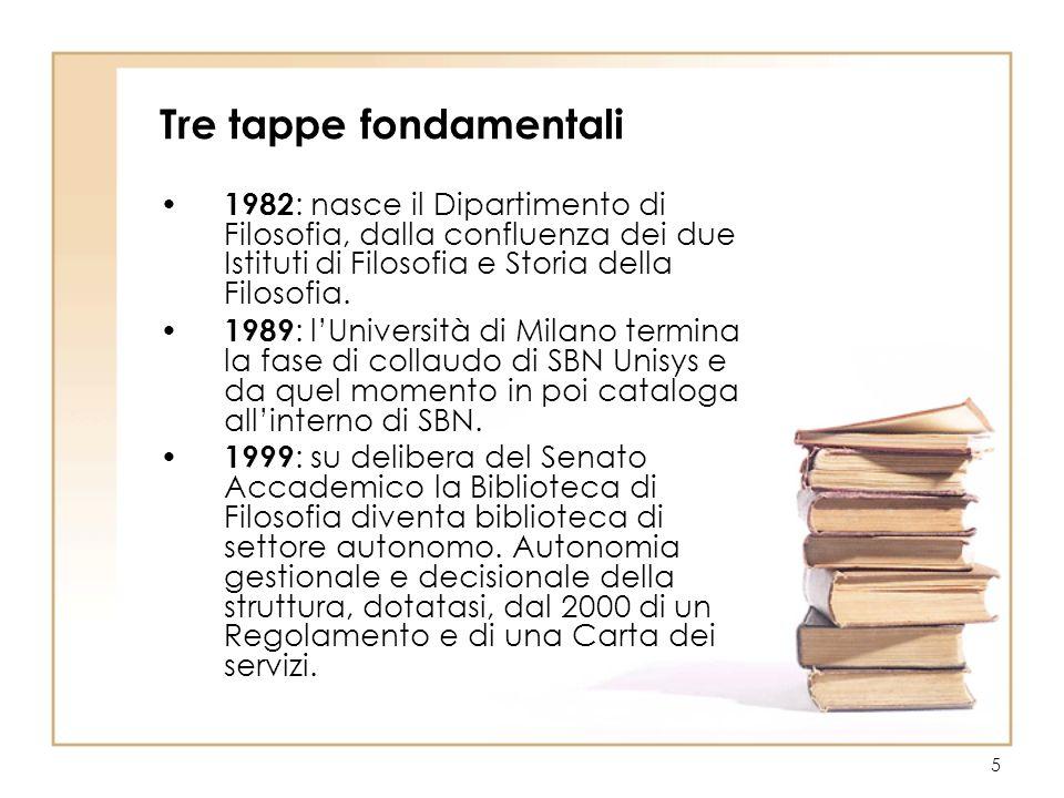 5 Tre tappe fondamentali 1982 : nasce il Dipartimento di Filosofia, dalla confluenza dei due Istituti di Filosofia e Storia della Filosofia. 1989 : lU