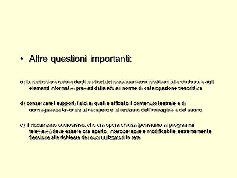 Altre questioni importanti: c) la particolare natura degli audiovisivi pone numerosi problemi alla struttura e agli elementi informativi previsti dall