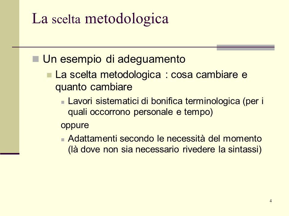 4 La scelta metodologica Un esempio di adeguamento La scelta metodologica : cosa cambiare e quanto cambiare Lavori sistematici di bonifica terminologi